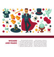 wizard and magic man with magical attributes and vector image vector image