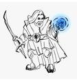 dwarf warrior magician line drawing vector image