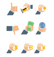 nine businesmens hands vector image