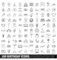 100 birthday icons set outline style vector image vector image