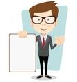 a cartoon businessman holding blank message board vector image