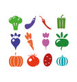 a set of icons of different vegetables on a white vector image