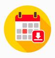 arrow calendar down download icon vector image vector image