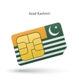 Azad Kashmir mobile phone sim card with flag vector image vector image