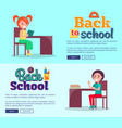 back to school cartoon style posters on light blue vector image vector image