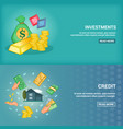 bank horizontal banners set with credit services vector image