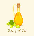 bottle with grape oil and berries drink wine vector image vector image