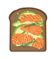 breakfast with salmon and toast vector image vector image