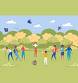 business people in teamwork training outdoors vector image