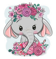 cartoon elephant with flowers on a white vector image