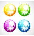 Christmas shiny buttons with snowflakes vector image