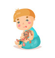 cute cartoon baby sitting and plying with his vector image vector image