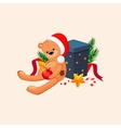 Cute Teddy Bear in a Christmas Hat Sitting near vector image