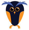 dark blue owl with yellow wings simple on a white vector image