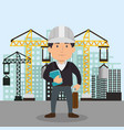 engineer character working icon vector image vector image