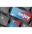 enjoy word on keyboard key notebook computer vector image vector image