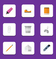 flat icon stationery set of notepaper clippers vector image vector image