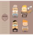 funny cartoon characters set stylish guys always vector image