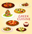greek food dishes with meat cheese and seafood vector image vector image