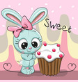 greeting card cute rabbit with cake vector image vector image