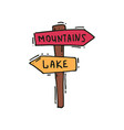 hand drawn icon of wooden arrow sign post vector image vector image