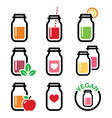 Healthy smoothie drink juice in jar icons set vector image