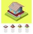 house construction stages isometric poster vector image vector image