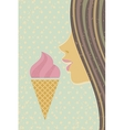 Ice cream cone and young girl vector image vector image