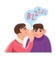 man whispers secret in friends big ear with speech vector image