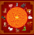 maze or labyrinth game with chinese zodiac animals vector image