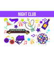 night club partying elements limo and hookah disco vector image vector image