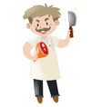 old butcher with knife and pork leg vector image