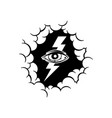 one eye with thunder inside cloud theme sign vector image vector image