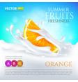 orange slice falling in milk or yogurt splash vector image vector image