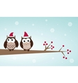 owls christmas branch vector image vector image