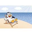Penguin is getting sunbath vector image