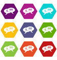 question and exclamation icon set color hexahedron vector image vector image