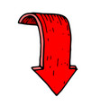 red down arrow hand drawn sketch vector image
