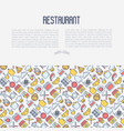 restaurant concept with thin line icons vector image vector image