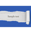 ripped paper blue background vector image vector image