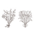 set of hand drawn spring bouquets vector image