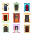 set of isolated outdoor view on doors vector image vector image
