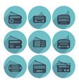 set of radio icons flat style vector image