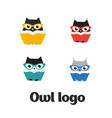 set owl logo owl icon set flat vector image