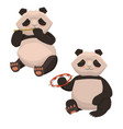 set two cute pandas playing musical vector image