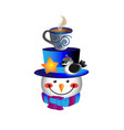 snowman bird cup of hot chocolate vector image vector image