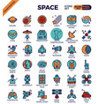 space and galaxy icons vector image vector image