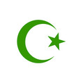 star and crescent moon green icon symbol islamic vector image