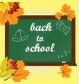 text on green chalkboard back to school vector image vector image