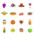 Thanksgiving icons set cartoon style vector image vector image